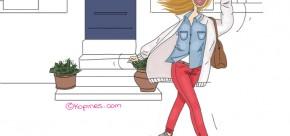 femme qui sort de sa maison