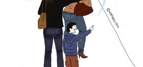 maman et son fils dans la file d'attente de quick