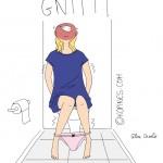 femme constipée aux toilettes