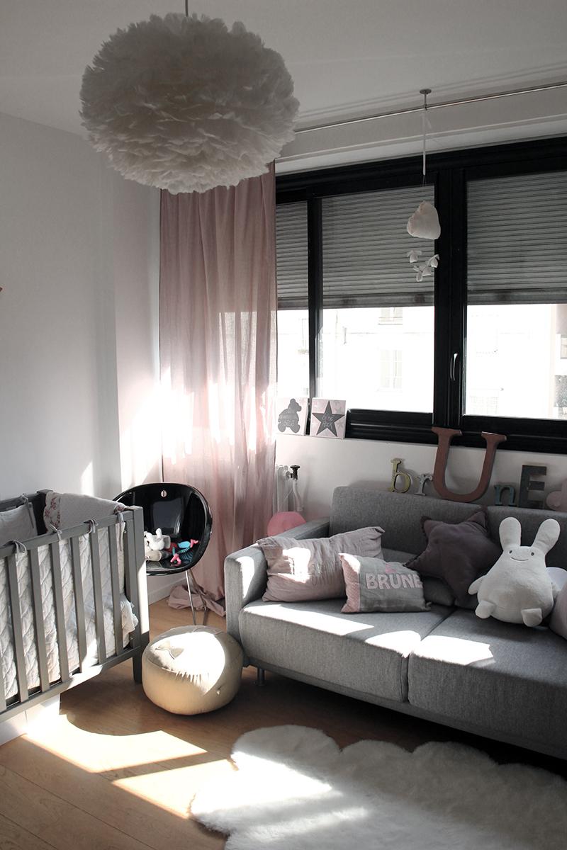 Chambre rose et gris