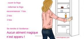 femme qui ouvre la porte du frigo